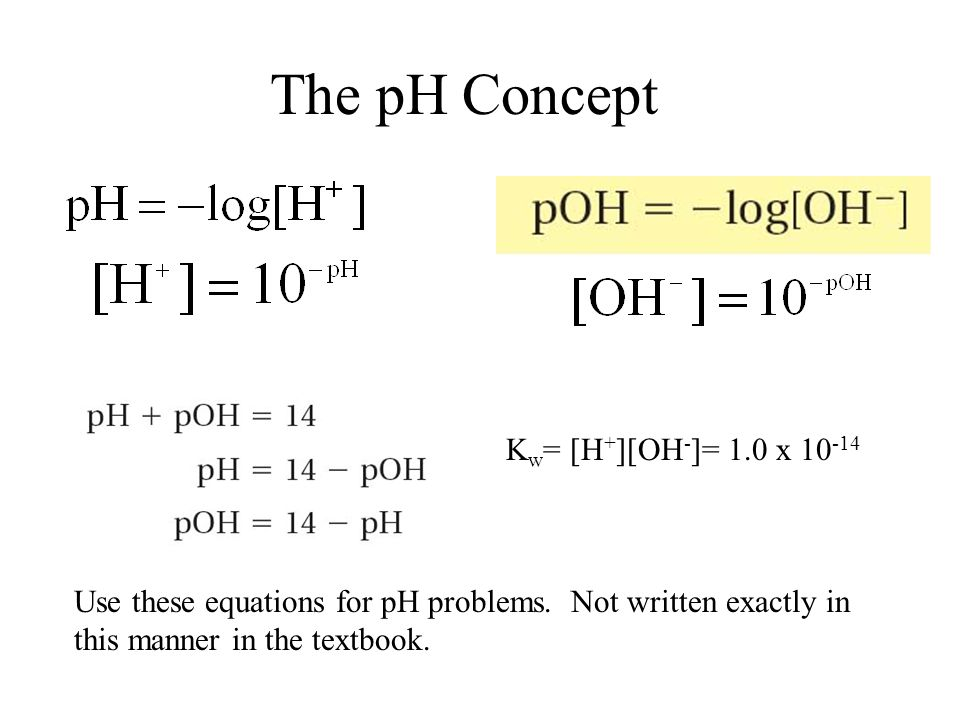 The pH Concept 19.2 Kw= [H+][OH-]= 1.0 x 10-14